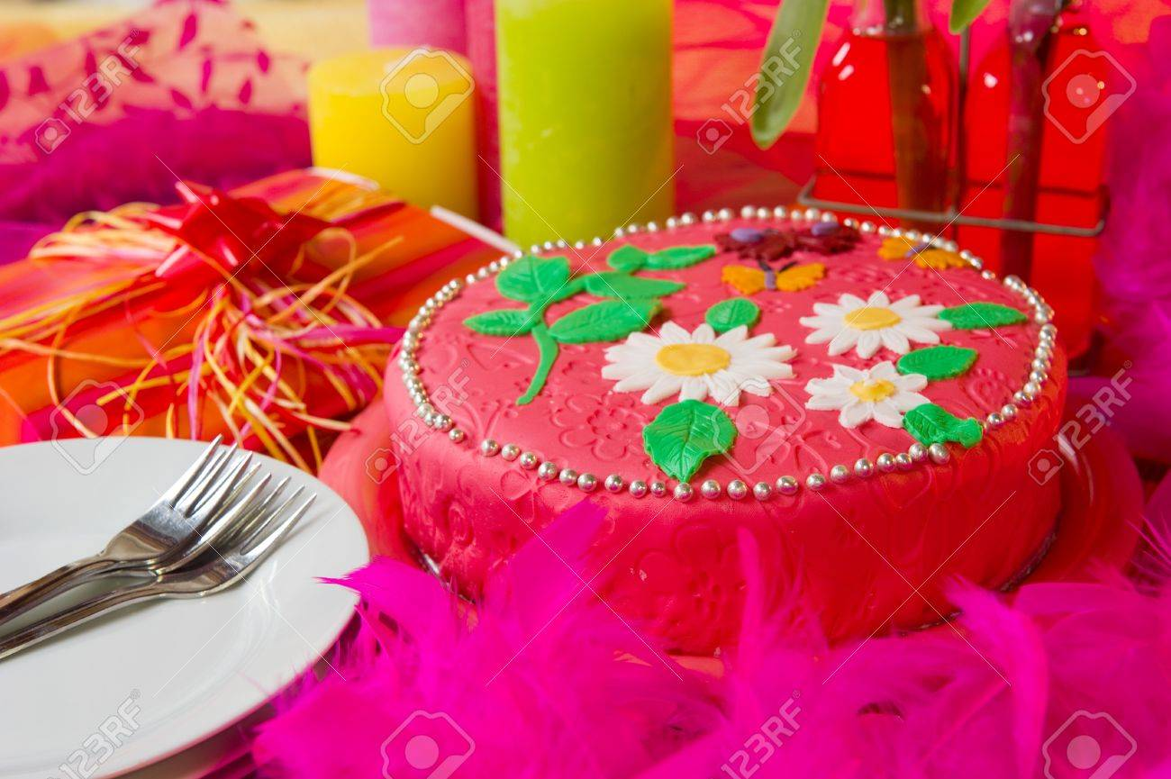 Pink Birthday Cake With Flowers And Butterflies In Still Life Stock