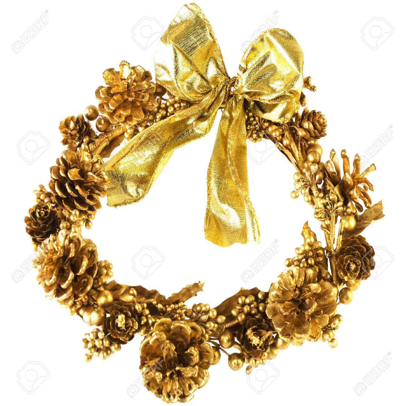Gold Christmas Wreath.Golden Christmas Wreath With Pine Cones And Ribbon