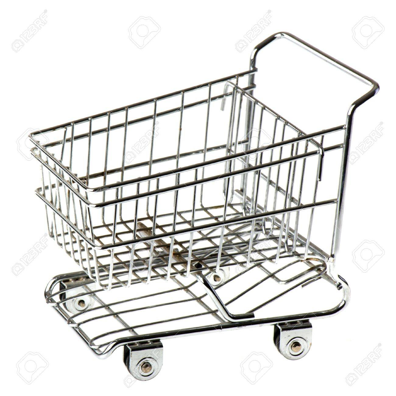 Empty metal shopping cart isolated over white background Stock Photo - 8489977