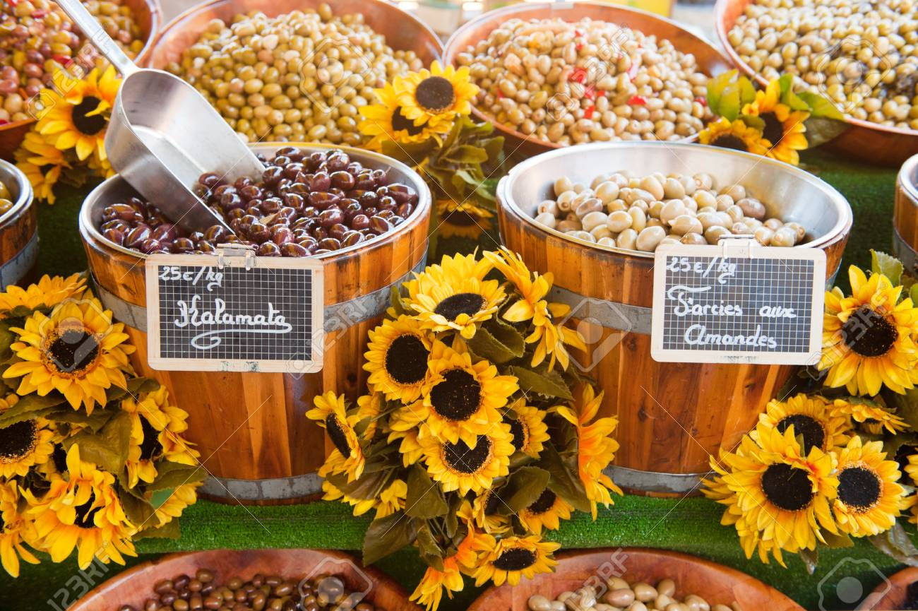 Various fresh French olives at the market in France Stock Photo - 8793807