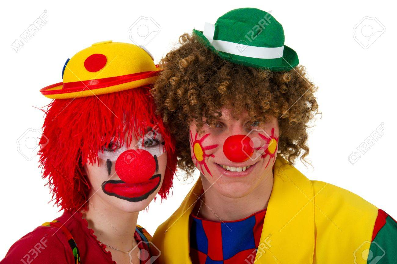 Funny portraits of a couple clowns in the studio Stock Photo - 8916503