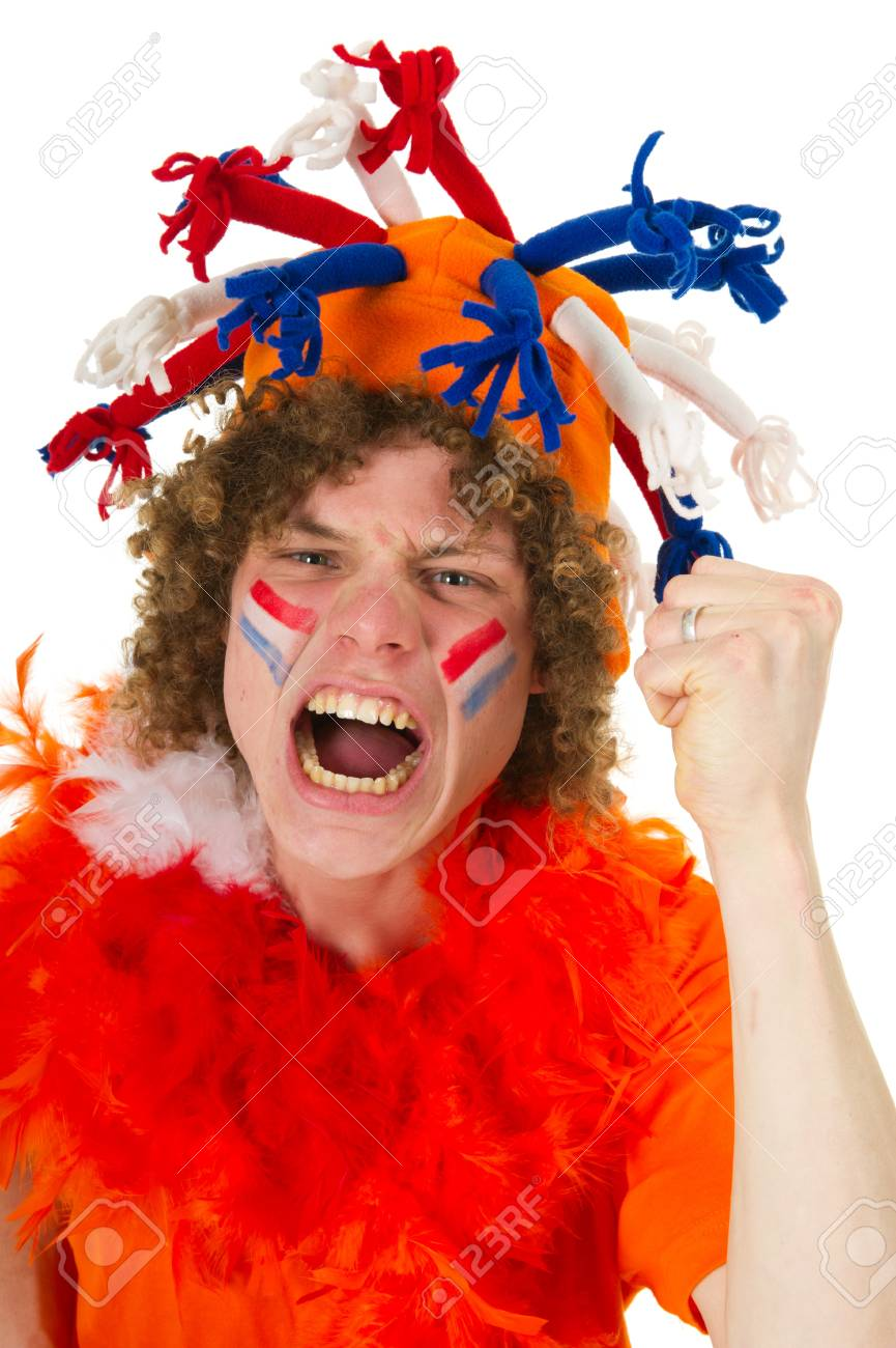 Young boy is supporting the Dutch team Stock Photo - 9514880