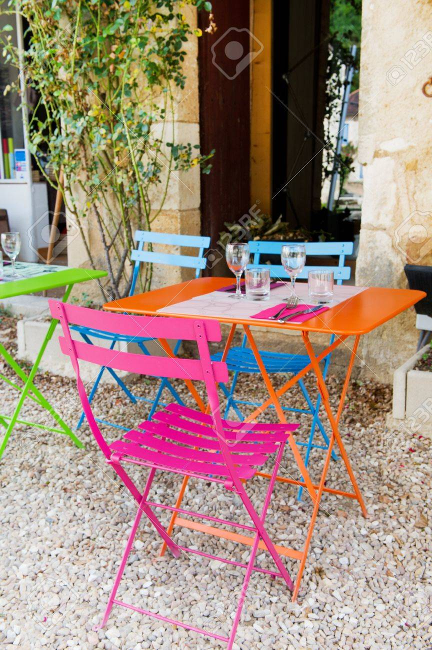 Colorful French Terrace From Restaurant Outdoor Stock Photo Picture And Royalty Free Image Image 10876619