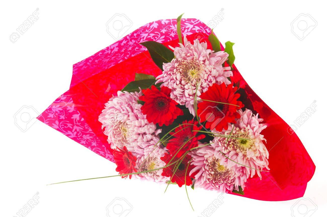 Autumn Bouquet With Mums And Gerber Flowers In Pink And Red Stock