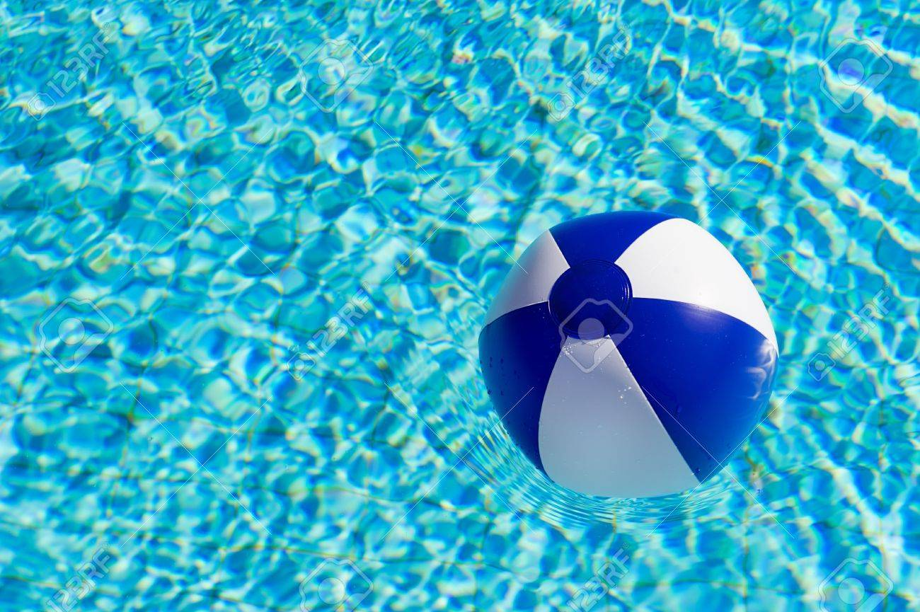 pool water with beach ball. Blue And White Beach Ball In Clear Water Of Swimming Pool Stock Photo - 11472964 With W