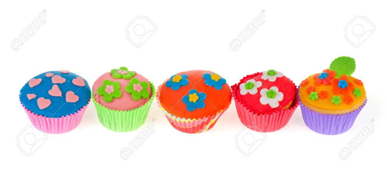 Row colorful homemade cupcakes with flowers and hearts Stock Photo - 11898201