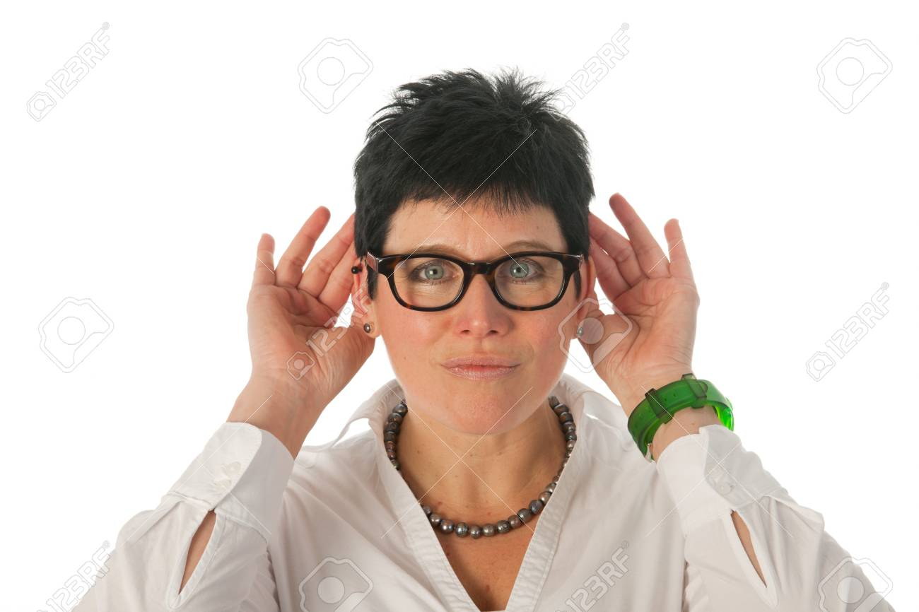 Woman can't hear it Stock Photo - 12338520