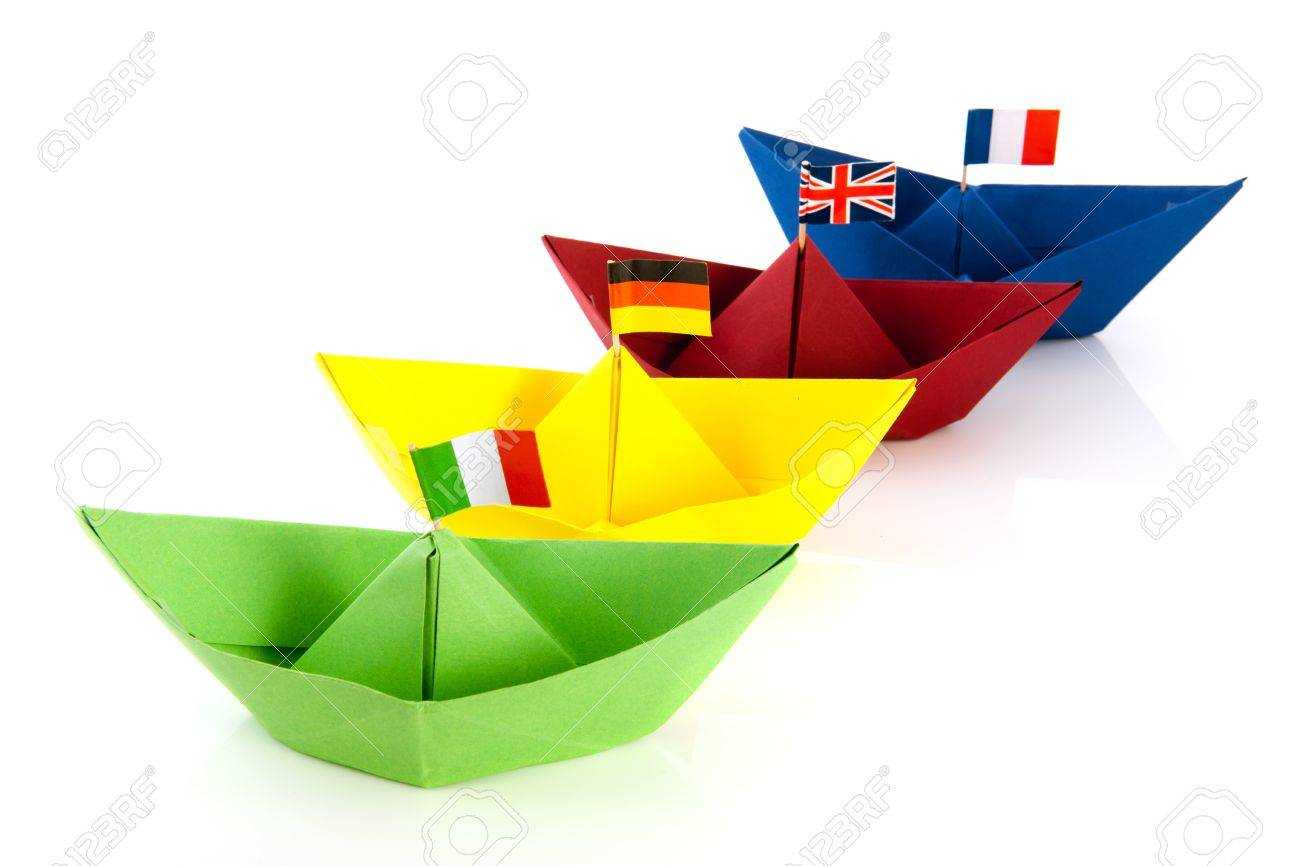 Colorful Folded Paper Boats With European Flags Isolated Over
