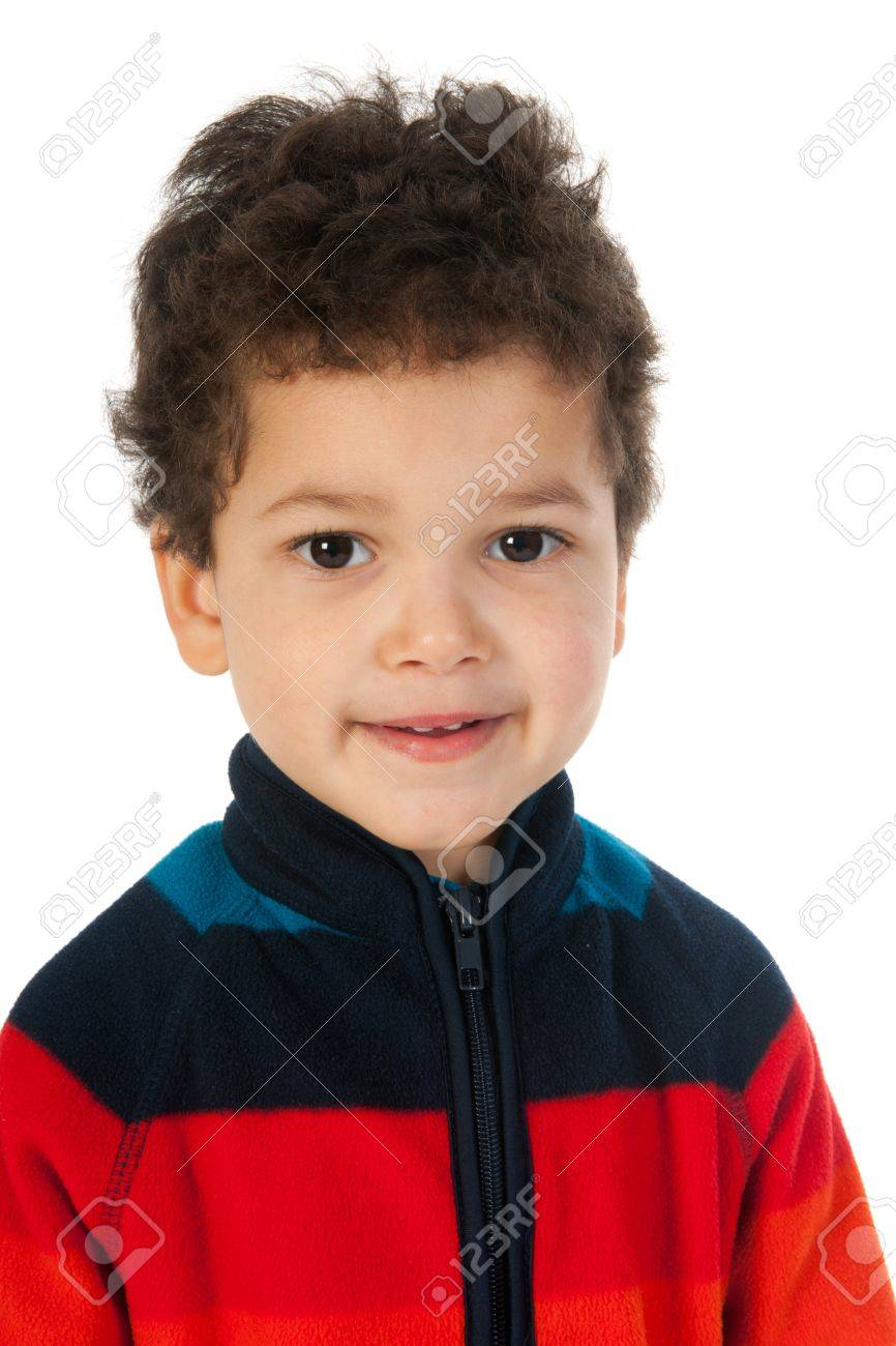 Little Boy With Black Curly Hair In The Studio