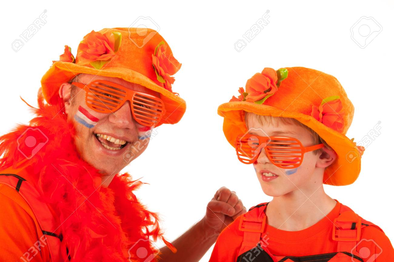 Father and son as Dutch orange soccer fans Stock Photo - 13872212