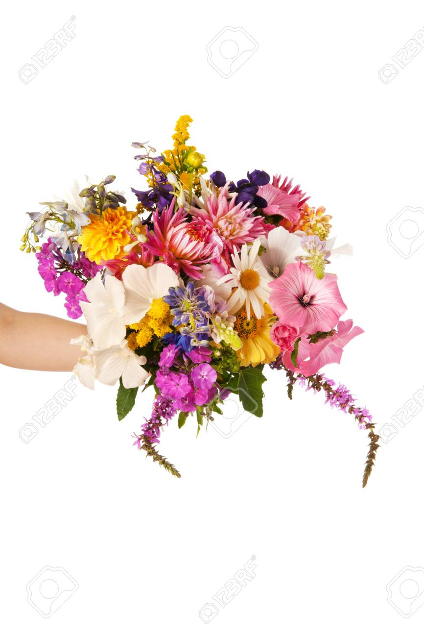 Colorful Flower Bouquet With Mixed Flowers Stock Photo, Picture And ...