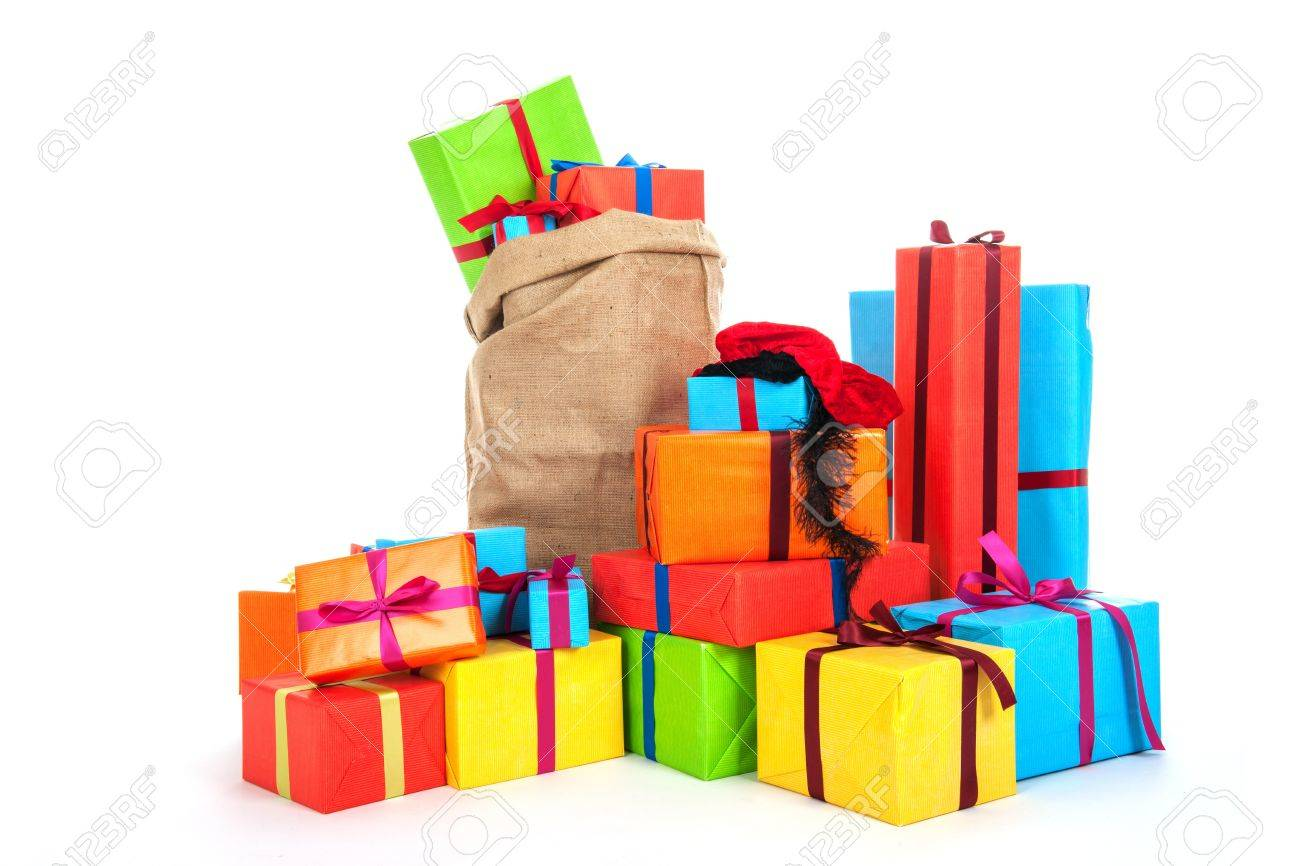 many colorful presents with luxury ribbons for Dutch Sinterklaas eve isolated over white background Stock Photo - 16381107
