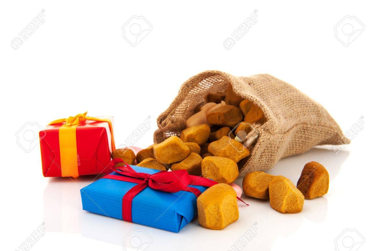 Bag Dutch Sinterklaas presents and pepernoten Stock Photo - 16677565