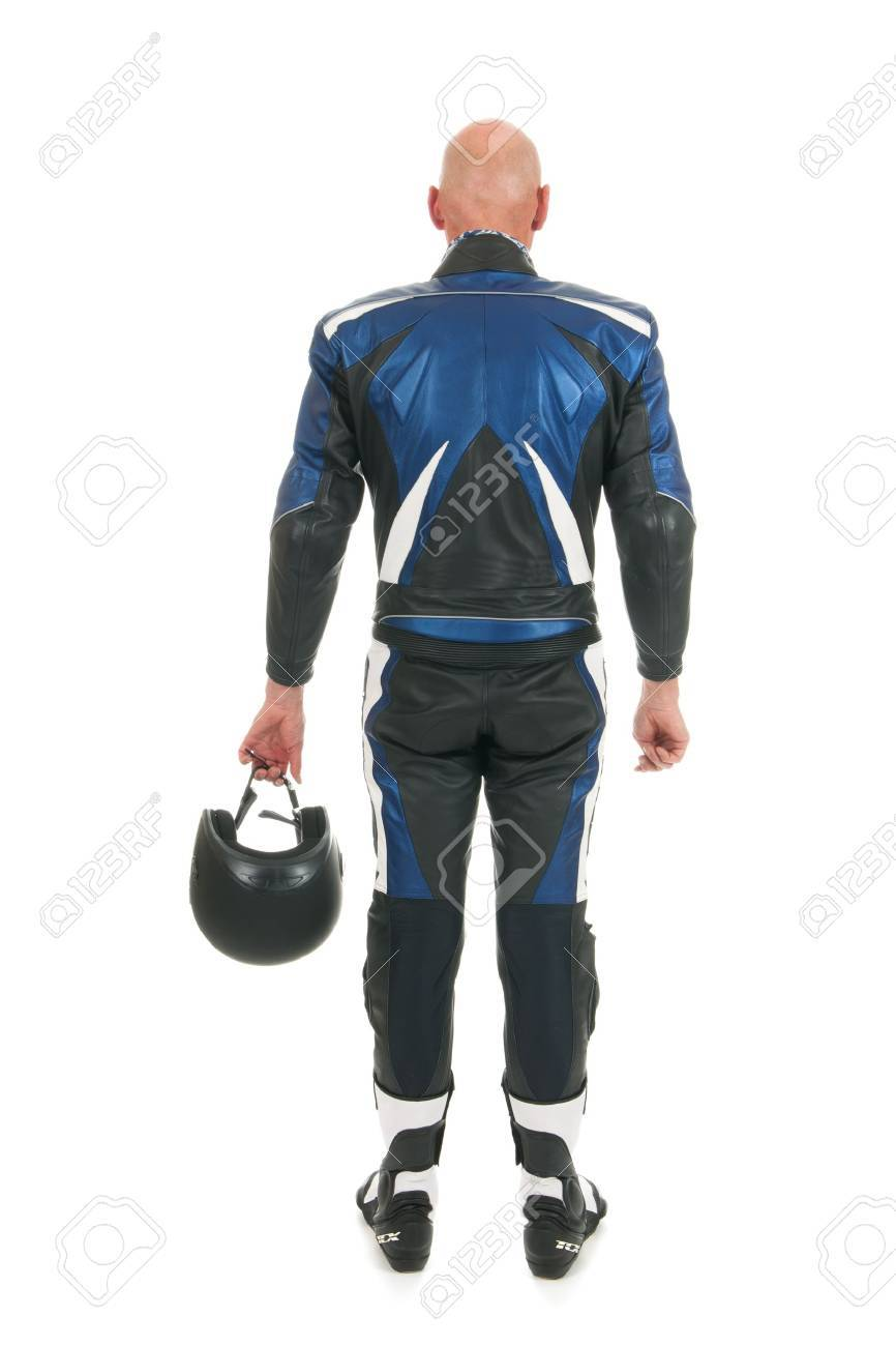 Backside motor biker in leather suit isolated over white background Stock Photo - 16662406