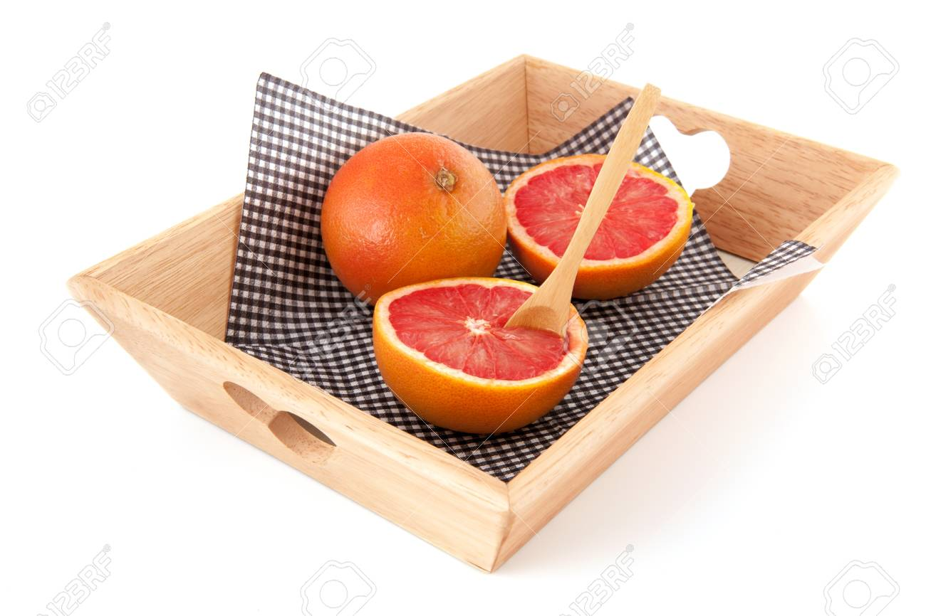 Diet breakfast with grapefruits on wooden trays Stock Photo - 17171327
