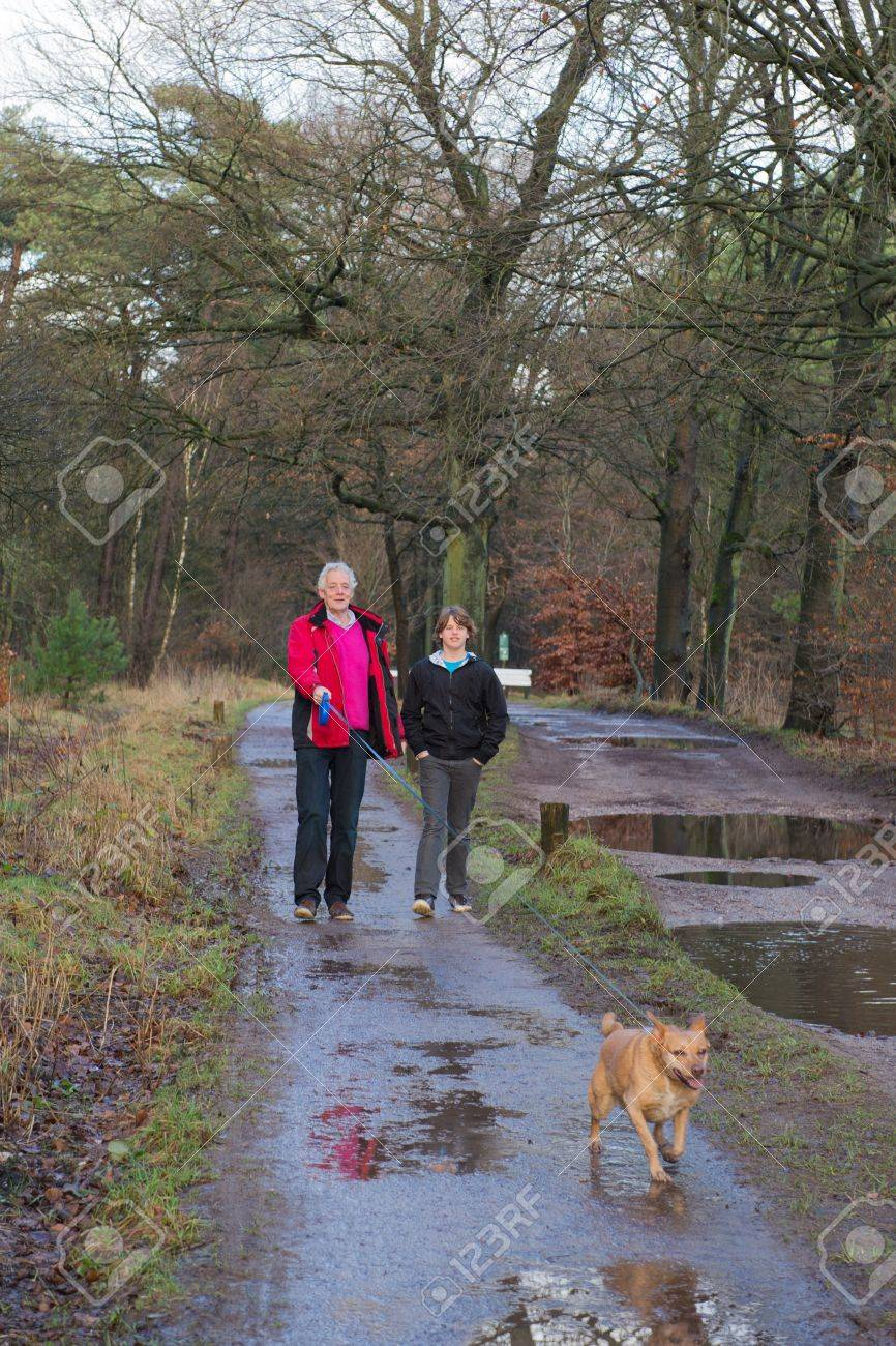Man and boy walking with dog in wet forest Stock Photo - 18203545