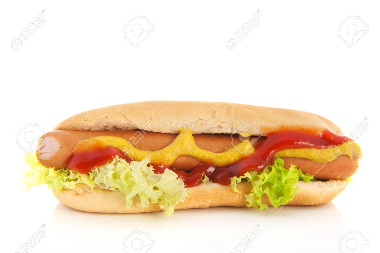 Hotdog and bread roll isolated over white background - 19575008