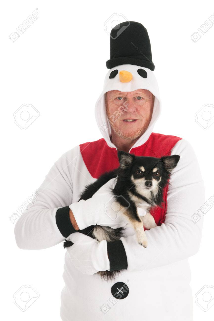 98e0365b591 Human snowman with little Chihuahua dog isolated over white background  Stock Photo - 23883432