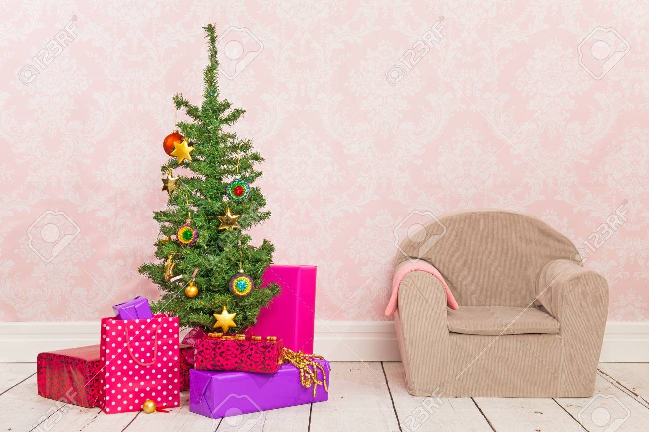 Vintage Room With Colorful Christmas Tree Gifts And Chair Stock Photo Picture And Royalty Free Image Image 23883450