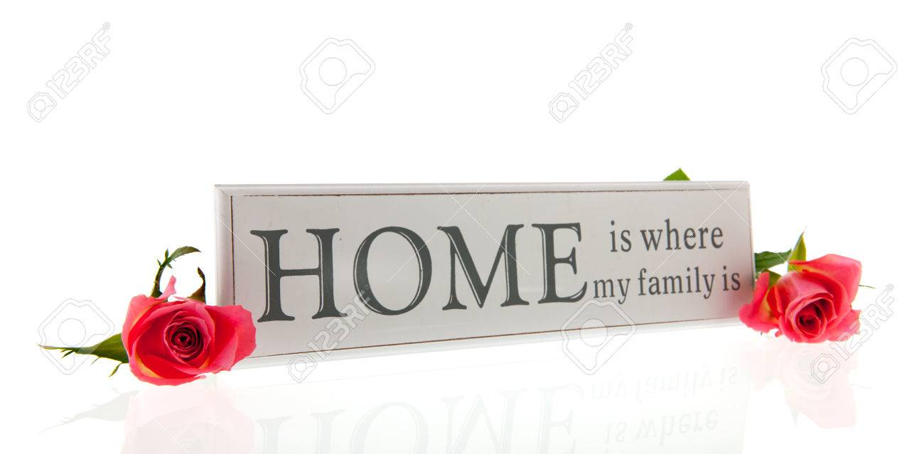 Home Is Where My Family Is In White Letters Isolated Whit Pink