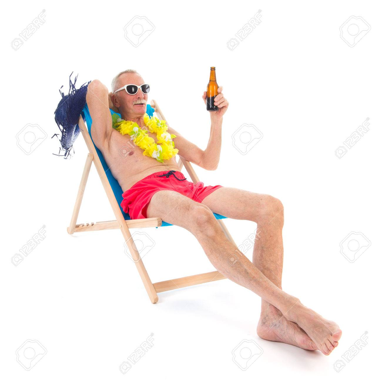 Retired Man On Vacation Sitting In Beach Chair Drinking Beer Banco De Imagens Royalty Free Ilustracoes Imagens E Banco De Imagens Image 33244537