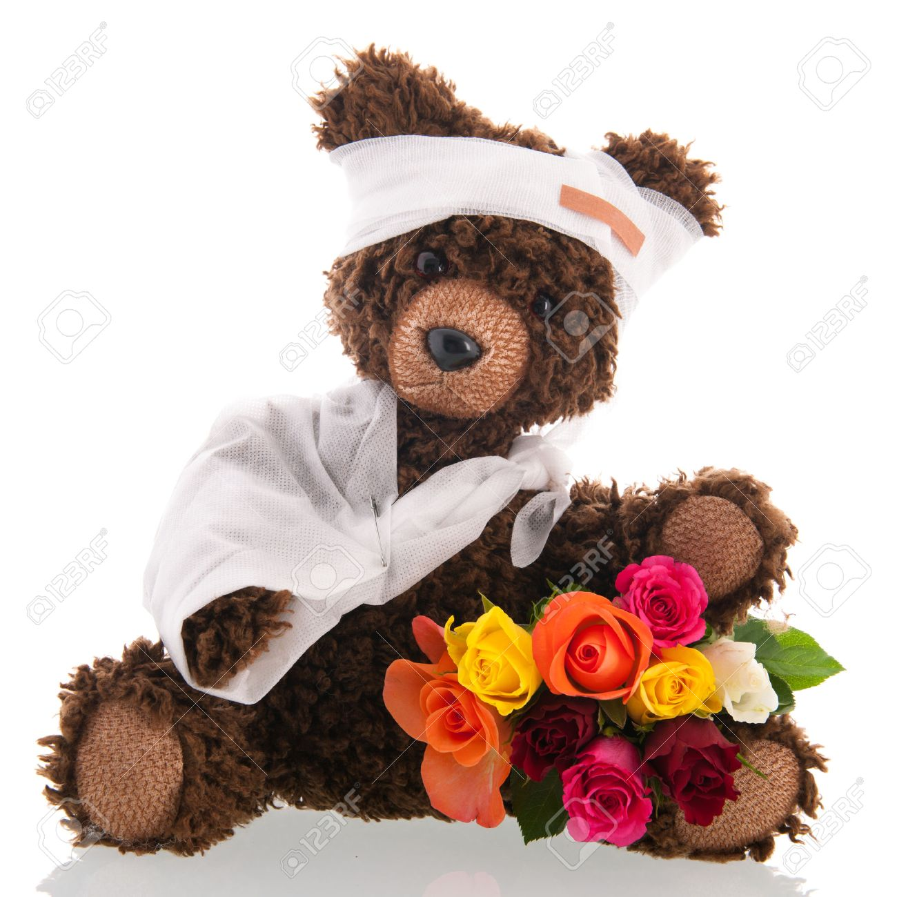 Get well stock photos pictures royalty free get well images and get well stuffed hand made poorly bear with plaster and flowers for get well soon dhlflorist Images