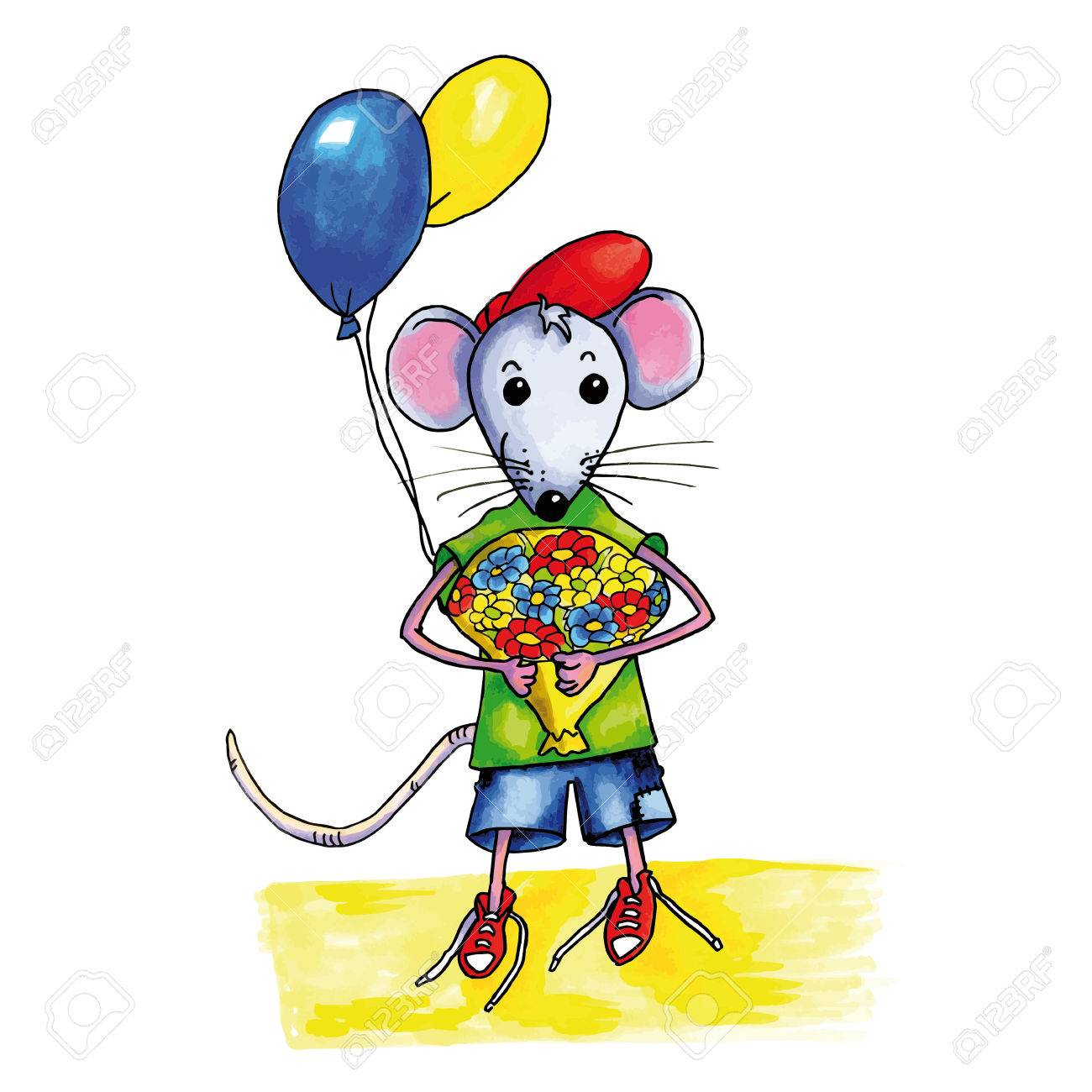 Little Mouse Child With Bouquet Birthday Flowers And Balloons Stock Vector