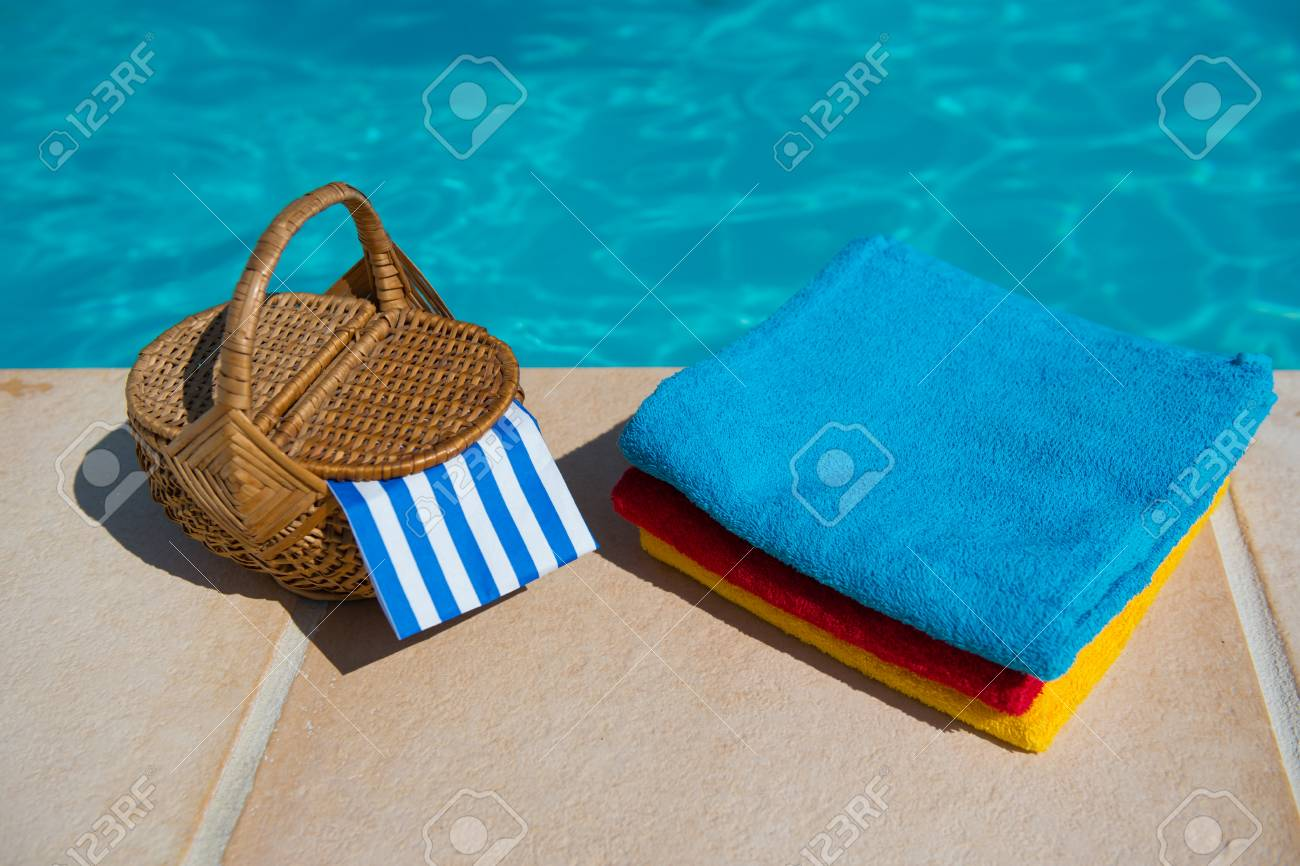 Towels And Picnic At Te Swimming Pool Stock Photo, Picture And ...