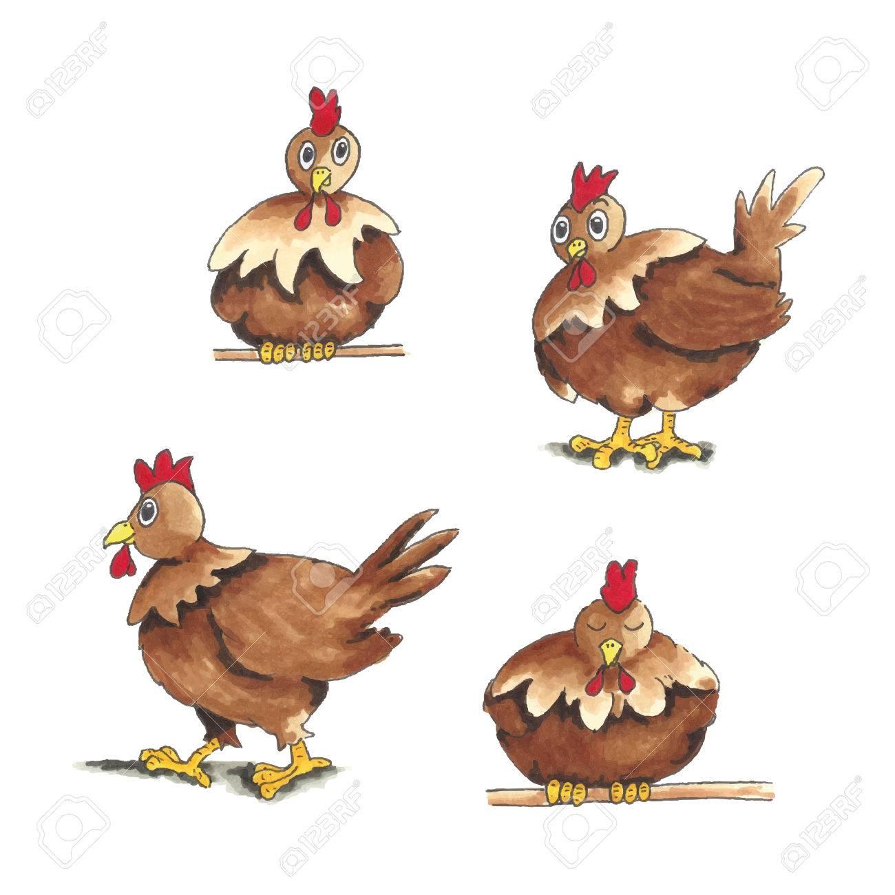Divertido Pollo De Dibujos Animados De Color Marrón Aislado Sobre ...