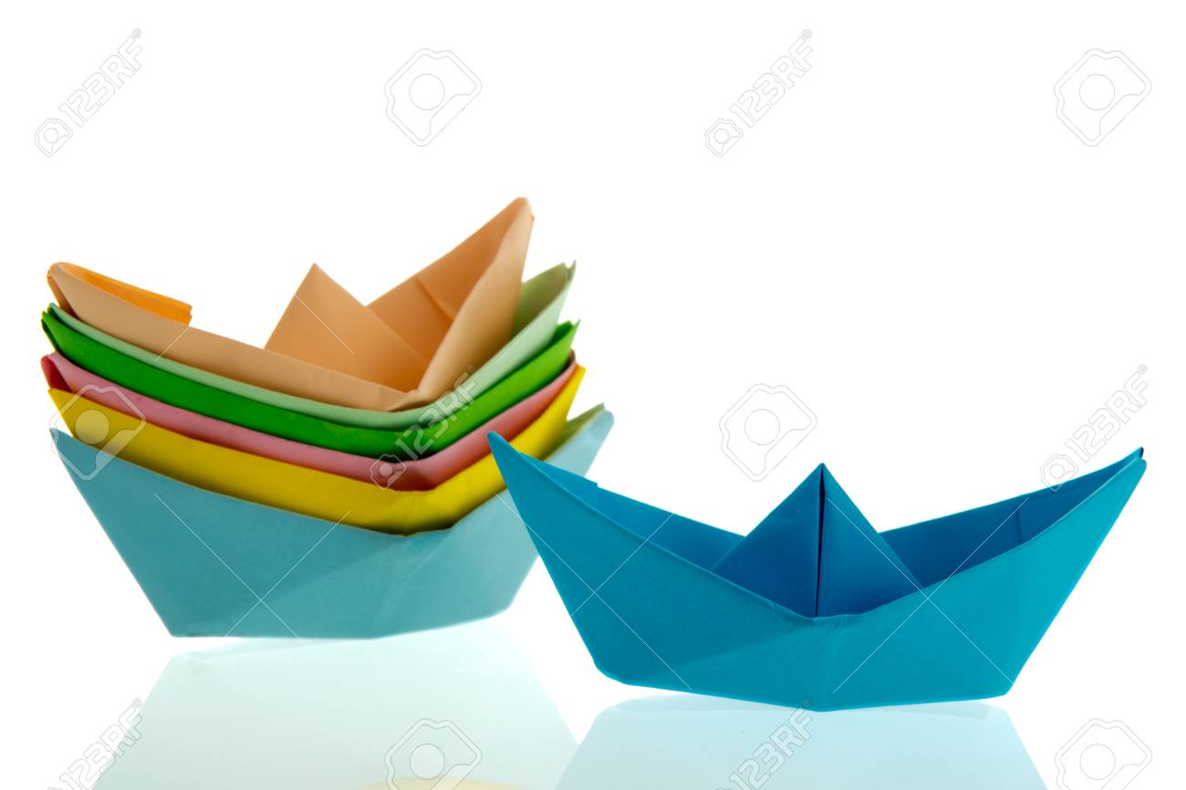 Colorful Folded Paper Boats Isolated Over White Background Stock