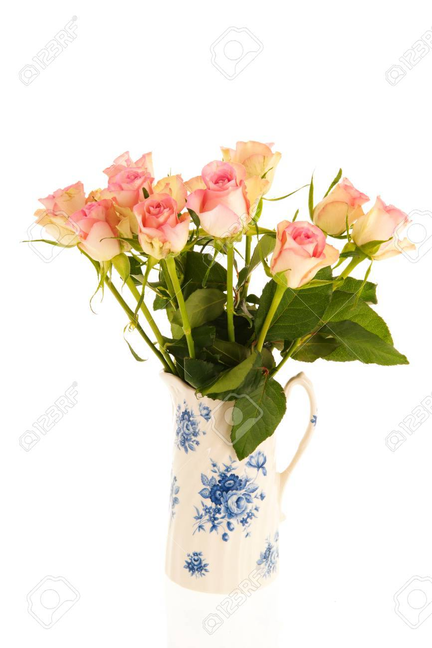 Bouquet pink roses in typical dutch vase isolated over white stock bouquet pink roses in typical dutch vase isolated over white background stock photo 69447933 izmirmasajfo