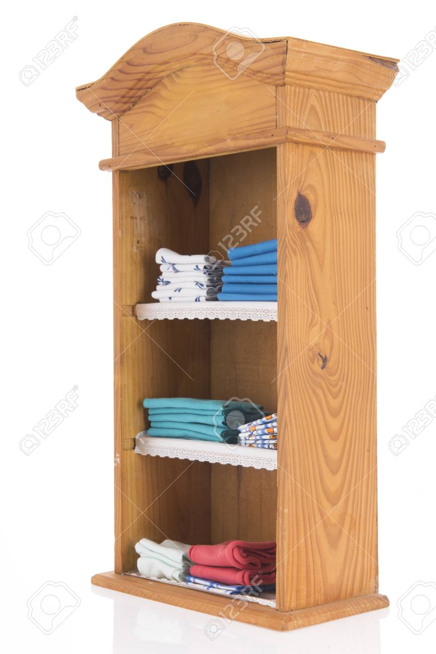 Old Wooden Vintage Linen Closet Isolated Over White Background Stock Photo    100588415