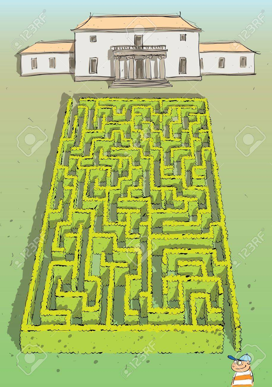 Landscape Hedge Maze Game  with solution in hidden layer Stock Vector - 17111346