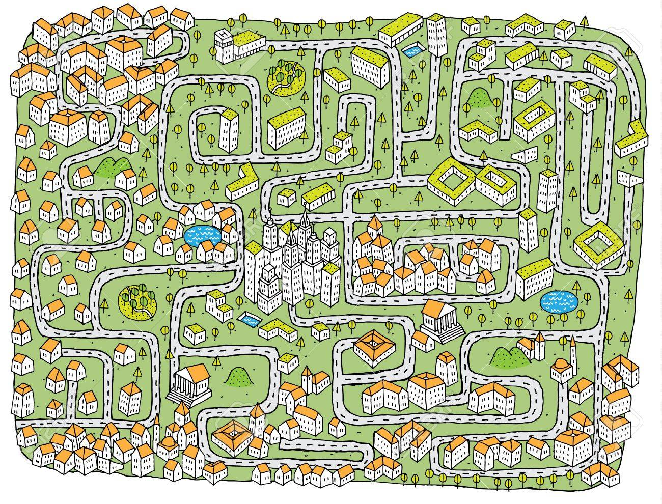 Urban Landscape Maze Game ... Find the right road to down town! Stock Vector - 17111348