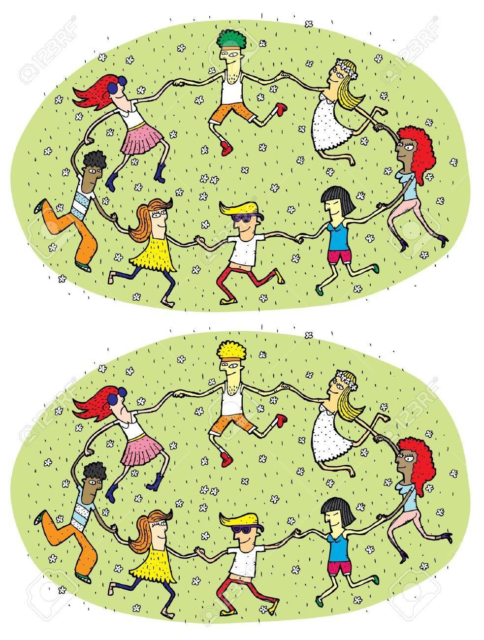 Dance Mind Game for Children Task Find 10 Differences