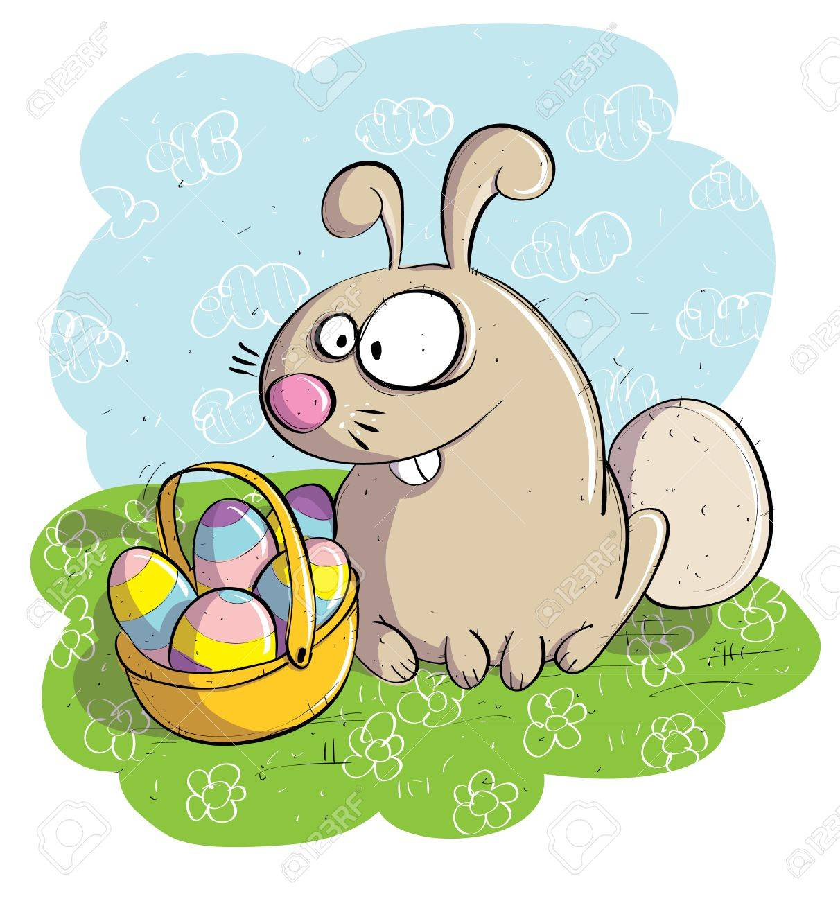 Easter Bunny with Basket of Eggs Stock Vector - 17139248