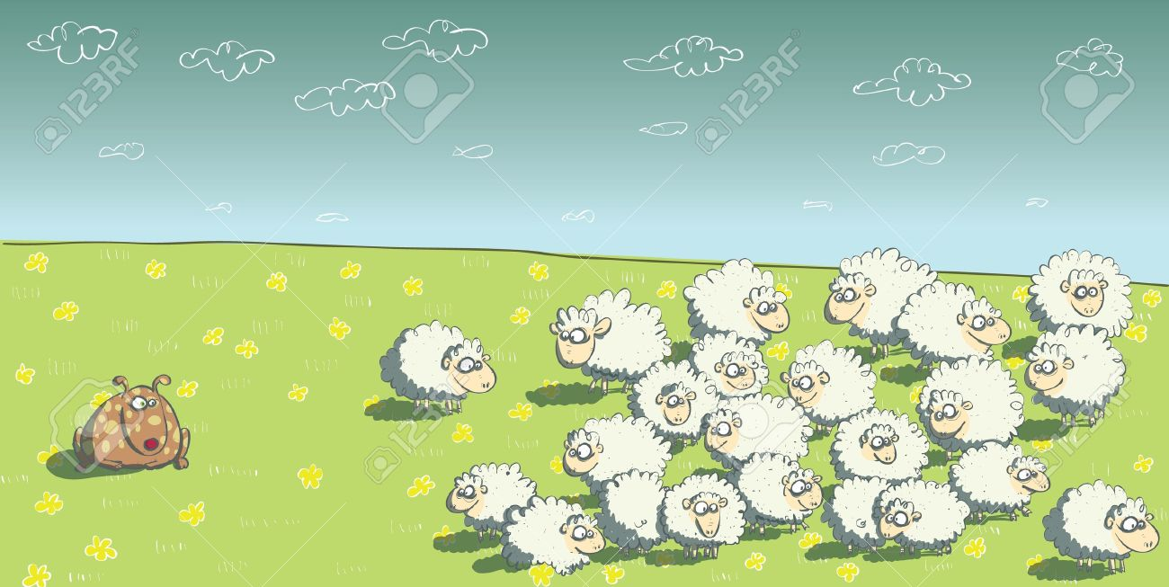 Sheep Flock Drawing Flock of Sheep And Sheepdog