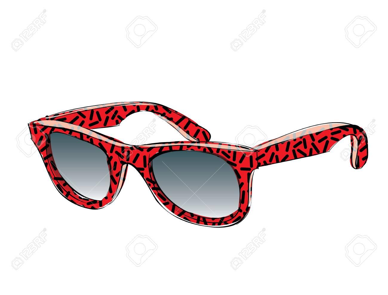 488b833d96 Foto de archivo - Red Gafas de sol retro con patrón Doodle aislado sobre  fondo blanco