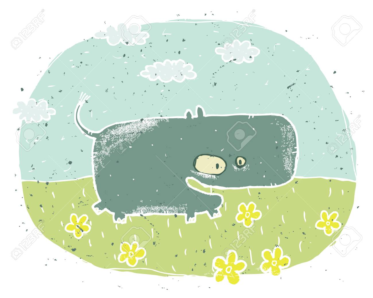 Hand drawn grunge illustration of cute hippo  smiling  on background with flowers and clouds Stock Vector - 17142524