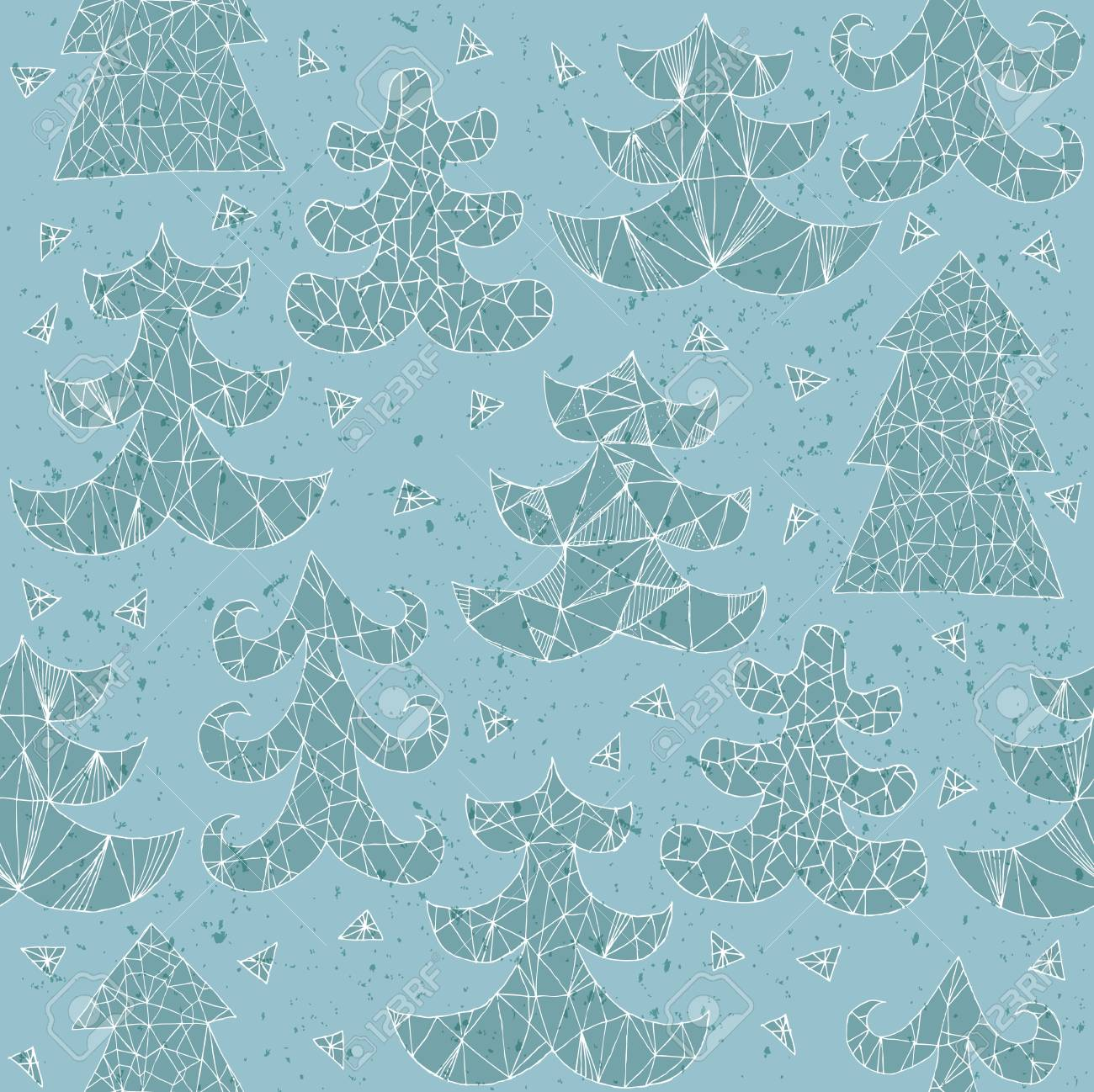 Christmas Trees Greeting Card ... Collection of different trees; seamless repeated pattern ... In blue! Stock Vector - 17142786