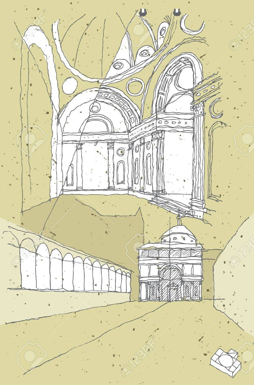 Sketching Historical Architecture in Italy Stock Vector - 17142265