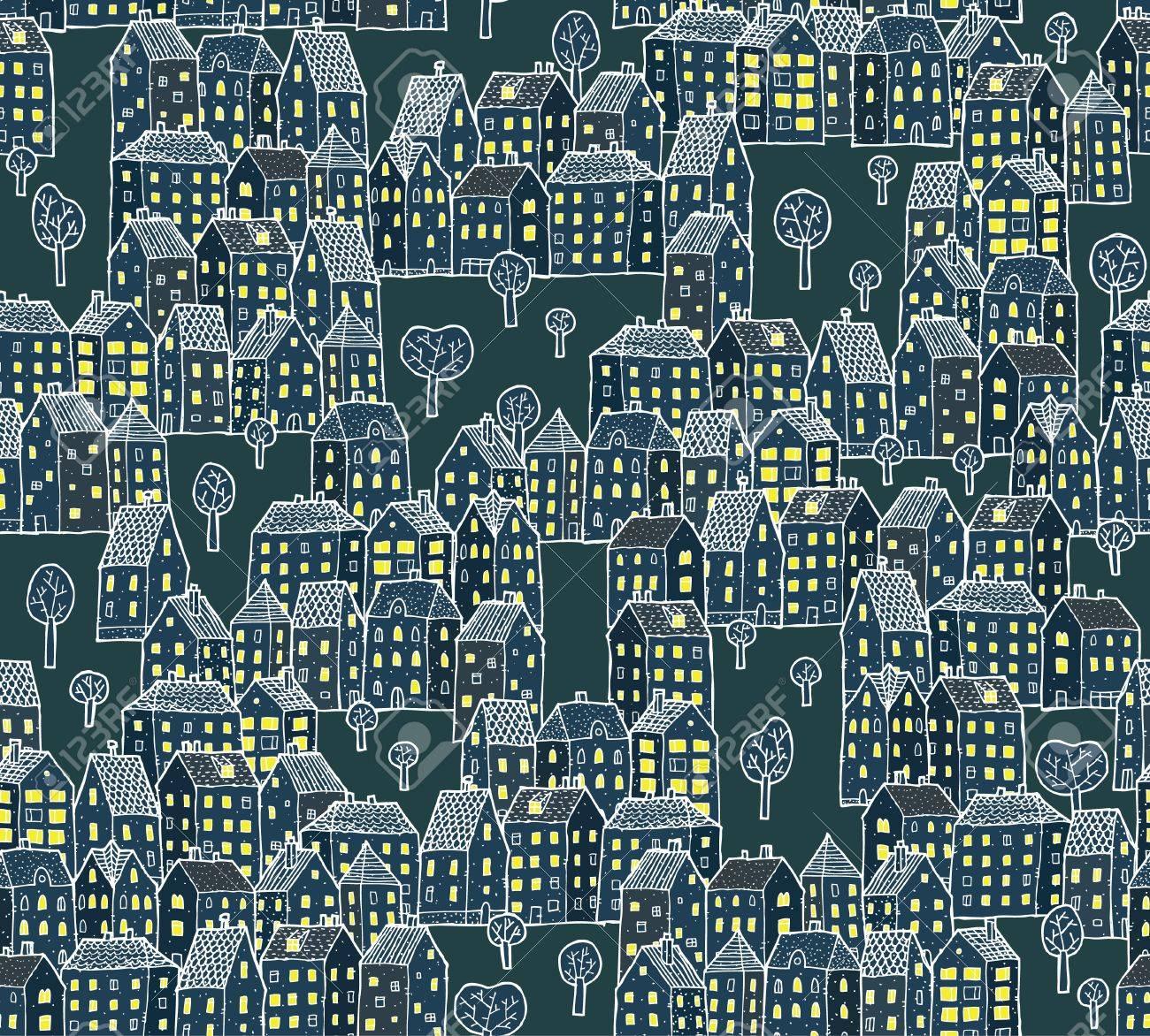 Night City Illustration   seamless pattern Stock Vector - 17142904