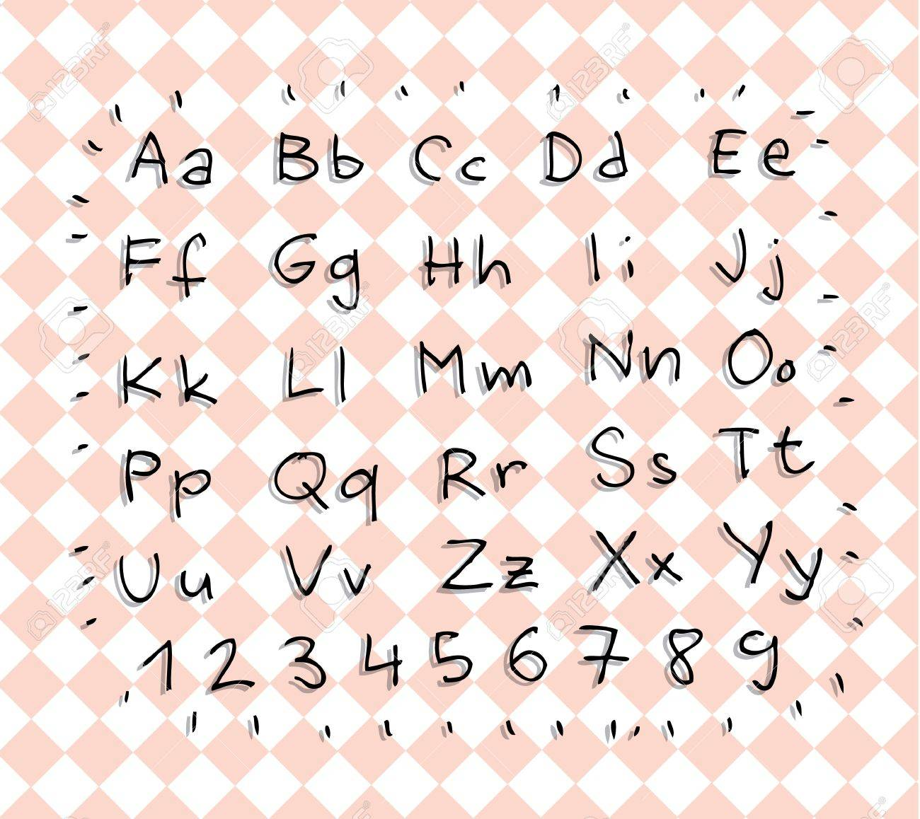 Hand Drawn Alphabet ABC with shadows on pink-gridded-napkin Stock Vector - 17188085