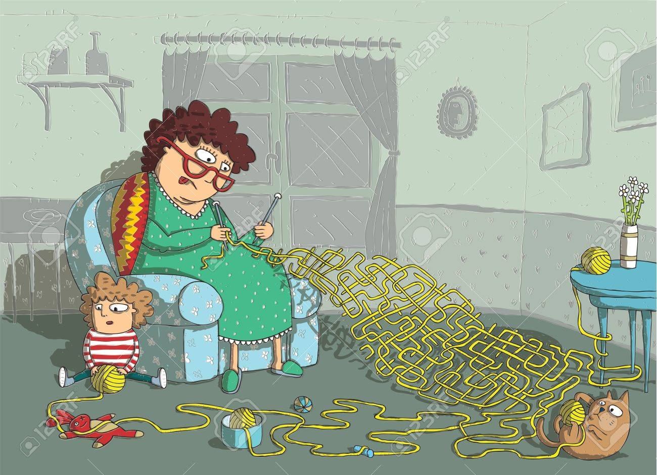 Grandma Crochet Maze Game  hand drawing with background on separate layer  Task  which wool-ball leads to grandma  Solution  cat Stock Vector - 17944356