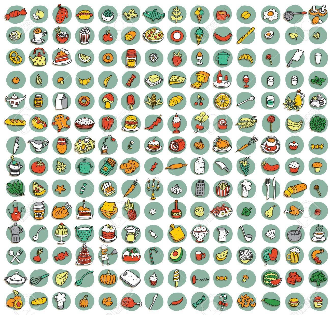 Sammlung Von 196 Nahrungsmittel Und Küche Gekritzelt Icons (Vignette ...