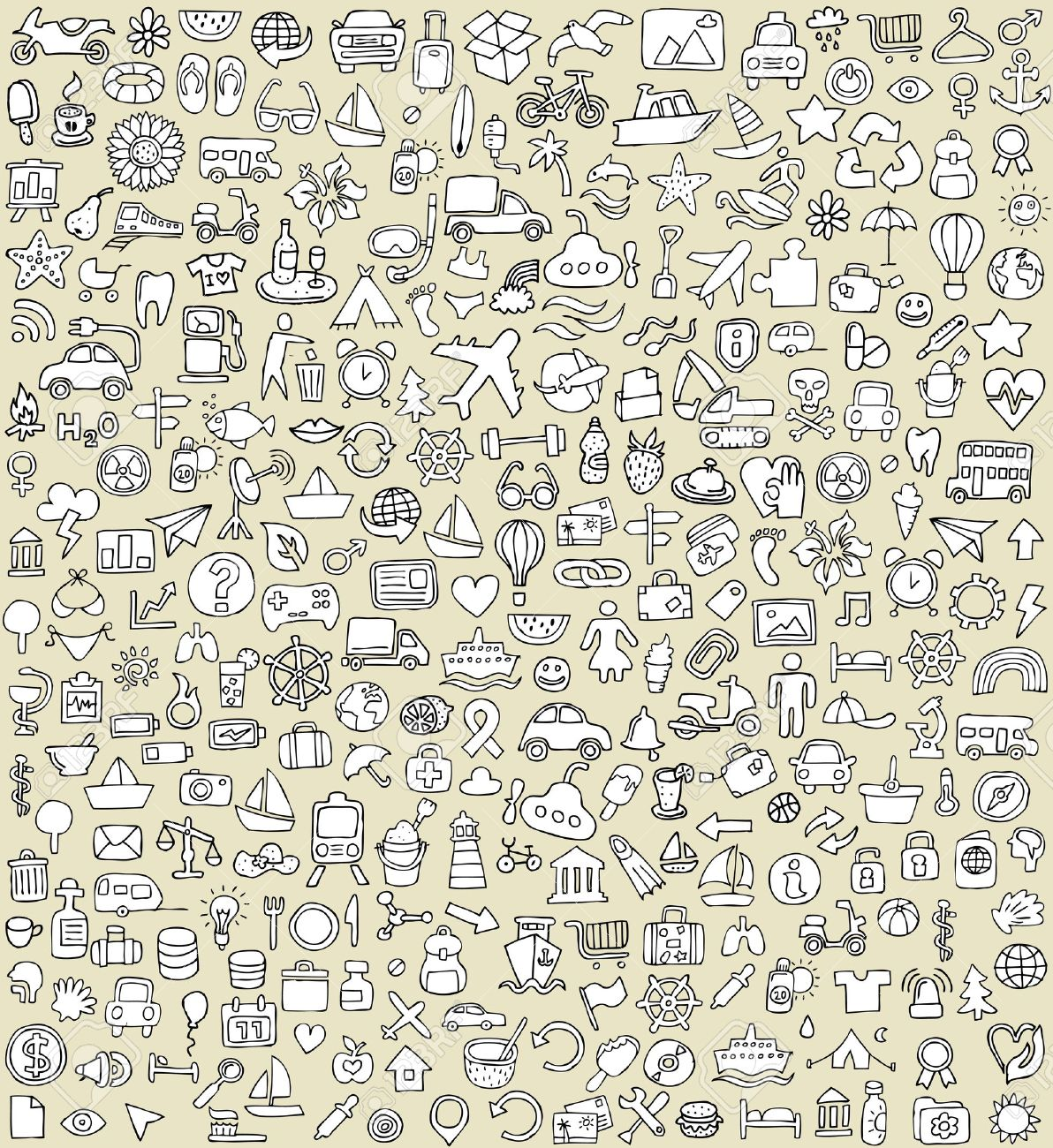 XXL Doodle Icons Set No.4 for every occasion in black-and-white. Small hand-drawn illustrations are isolated (group) on background Stock Vector - 20979285
