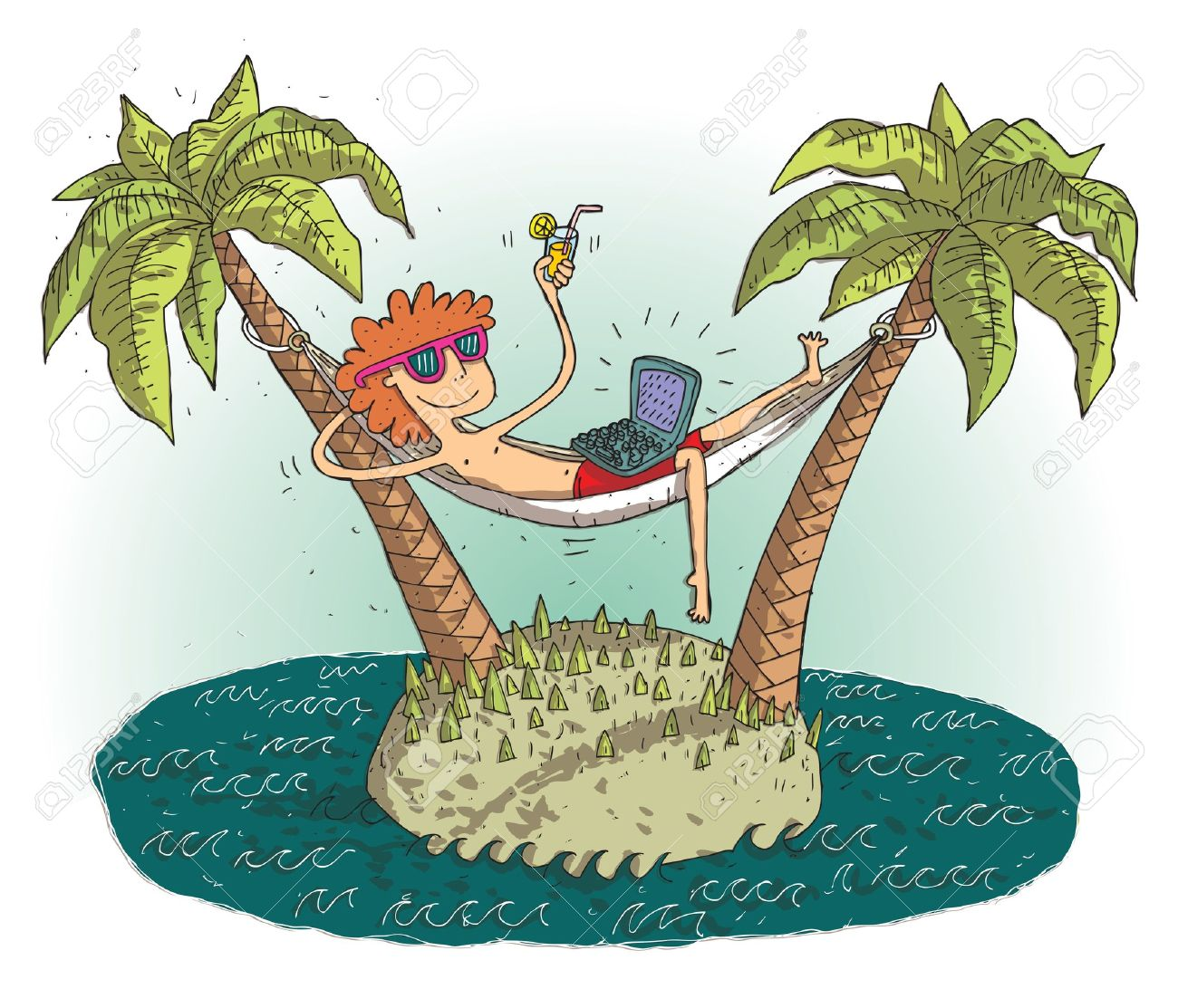 Global Village Cartoon With Satisfied Teenager On Deserted Island...  Royalty Free Cliparts, Vectors, And Stock Illustration. Image 21813799.