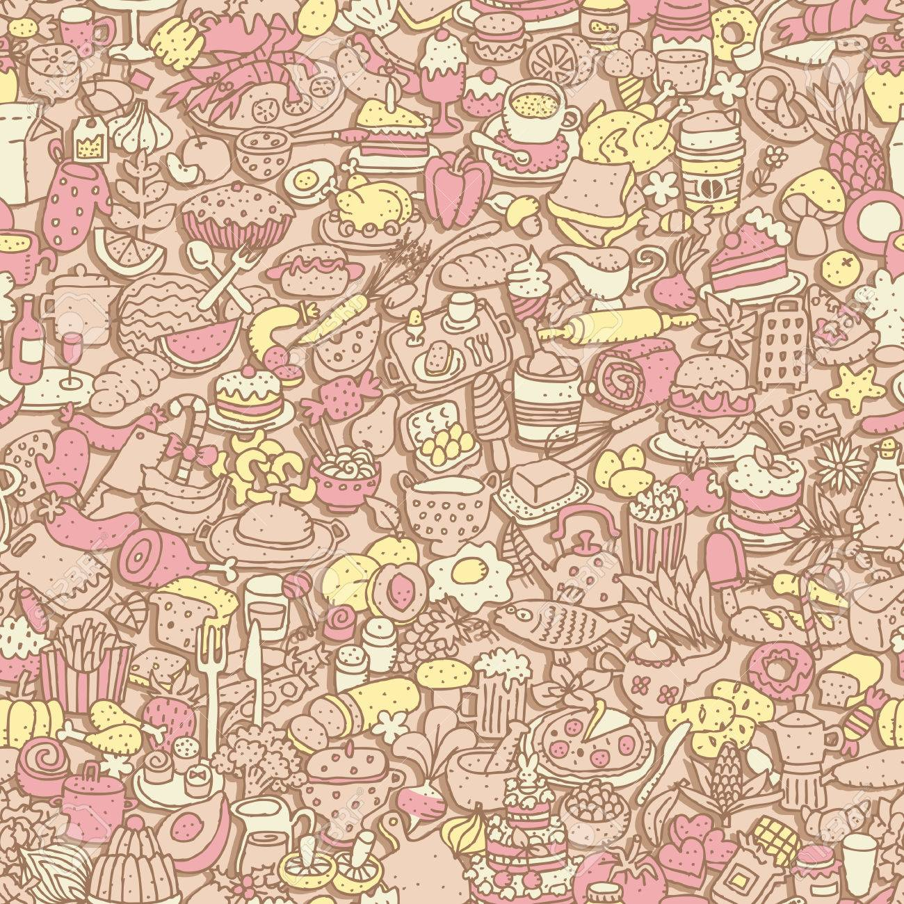 Food seamless pattern (repeated) with mini doodle drawings (icons). Stock Vector - 26609517
