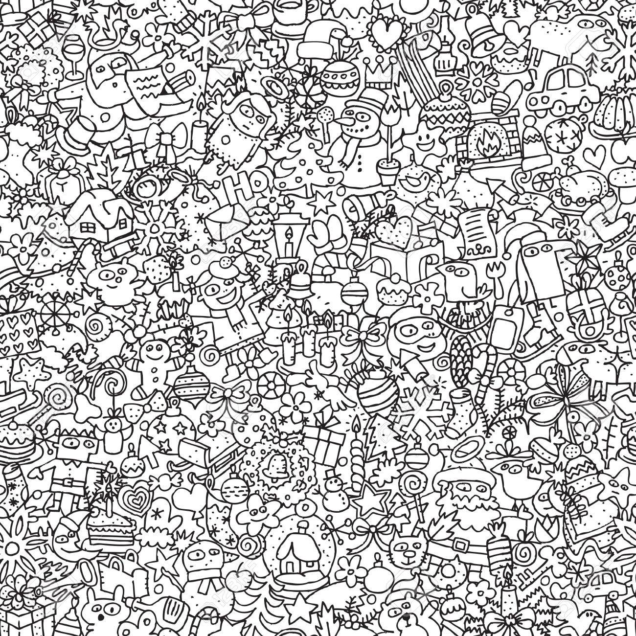 christmas seamless pattern in black and white repeated with