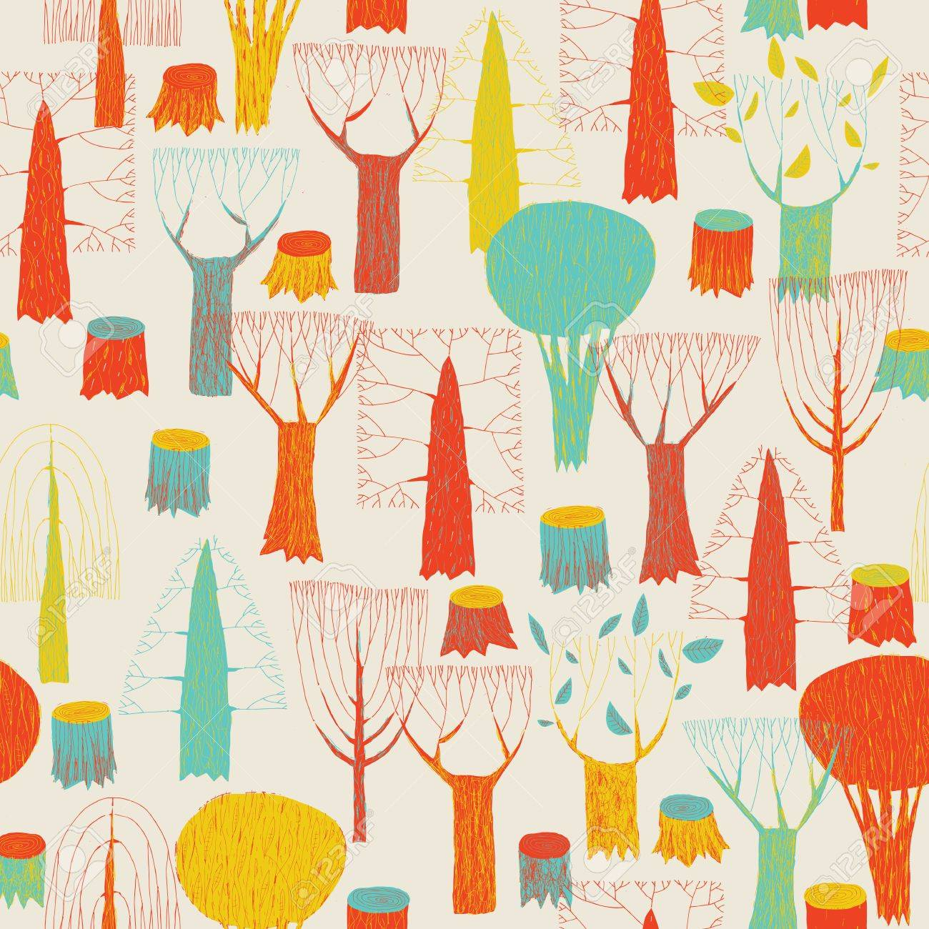 Teppich gezeichnet  Bäume Nahtlose Muster Teppich In Pop-Farben Ist Von Hand ...